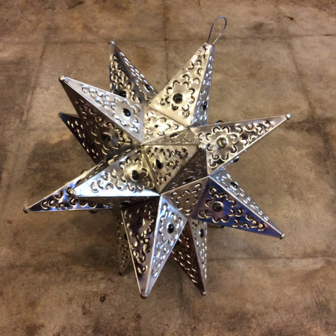 Large Tin Lit Star Lantern from Mexico