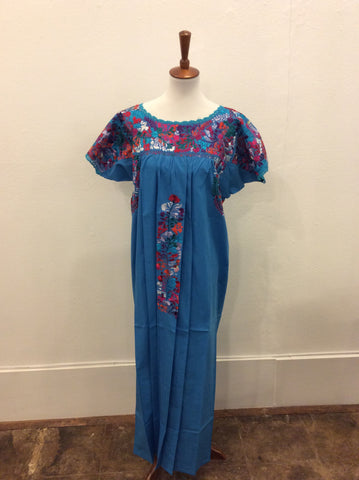 San Antonino Dress from Mexico - Royal Blue with Multicolored Embroidery
