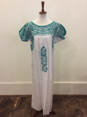 San Antonino Dress from Mexico - White with Green Embroidery