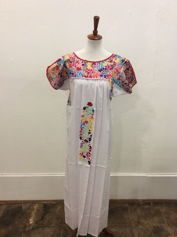 San Antonino Dress from Mexico - White with Multicolored Embroidery