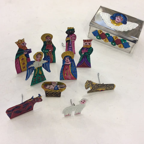 Mexican Tin Nativity with Angel Box