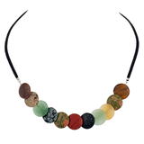 Matte Multi-Stone Suede Choker Necklace