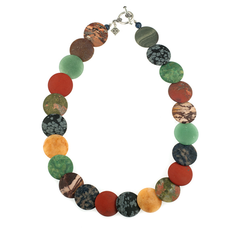 Large Matte Multi-Stone Discs Choker Necklace