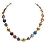 Cultured Pearl Coin & Brushed Gold - Multicolored
