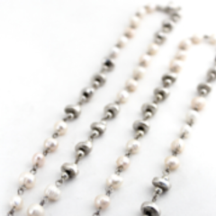 Pearl and Metal Bead Necklace