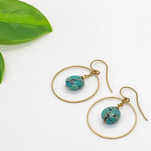 Brass Hoop Earrings - Turquoise