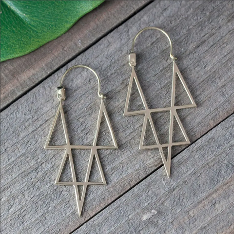 Brass Star Point Earrings