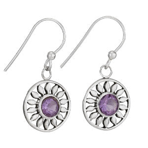 Round Sun Earrings - Amethyst