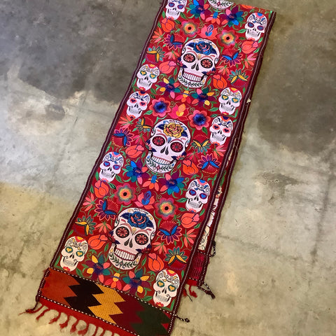 Day of the Dead Long Runner from Guatemala - Red