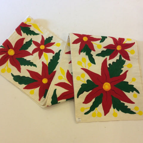 Painted Table Runner from Mexico - Poinsetta