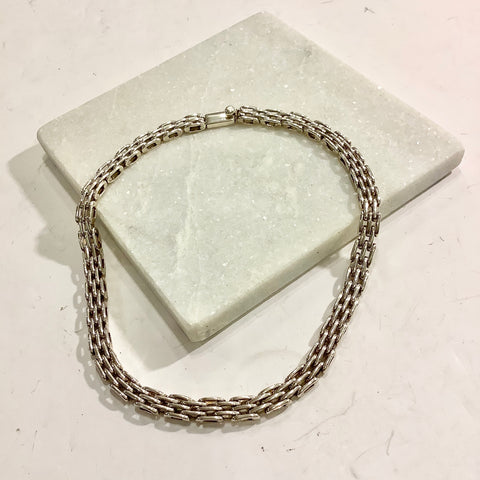 Bike Chain Silver Necklace