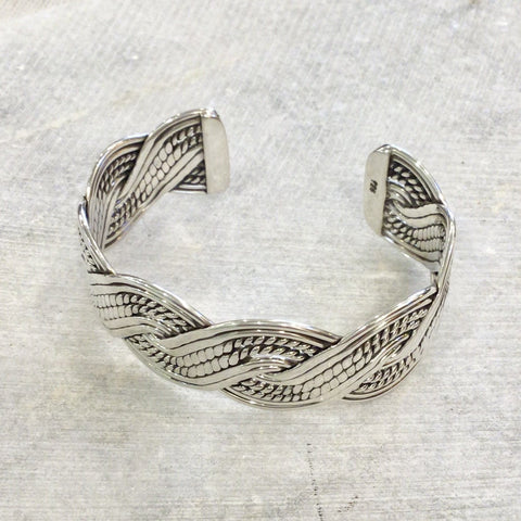 Braided Rope Silver Cuff Bracelet - Small