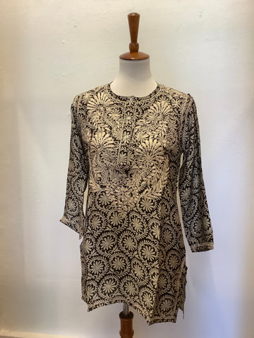 Silk Embroidered Floral Tunic - Black