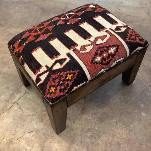 Rectangular Kilim Footstool from Turkey