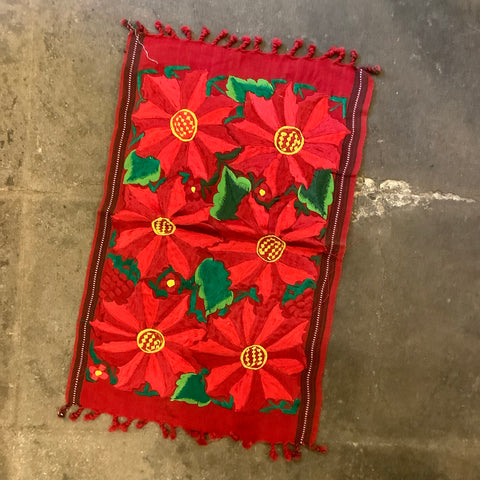 Embroidered Poinsettias Placemat Runner from Guatemala