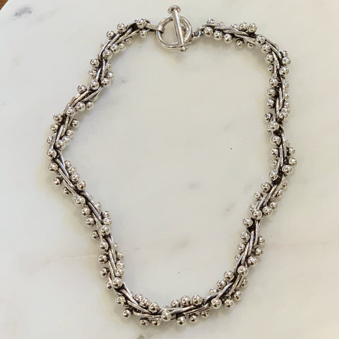 "Taxco Silver Bola Necklace - Medium 16"" Length"