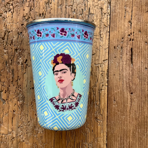 Painted Stainless Steel Tumbler with Frida Kahlo - Light Blue