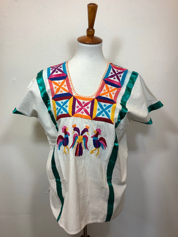 Embroidered Natural Cotton Huipil from Huazolotitlan, Oaxaca - Medium