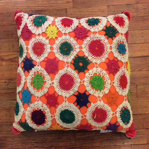 SALE - Orange Square Vintage Crochet Pillow