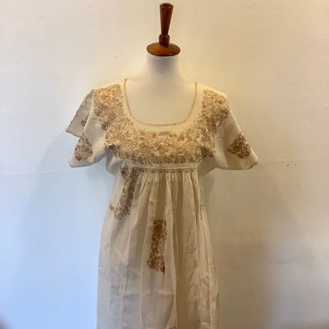 San Antonino Dress from Mexico - Gold/Tan