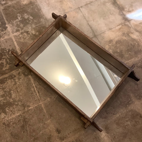 Wooden Adobe Mold - Turned Mirror from Guatemala