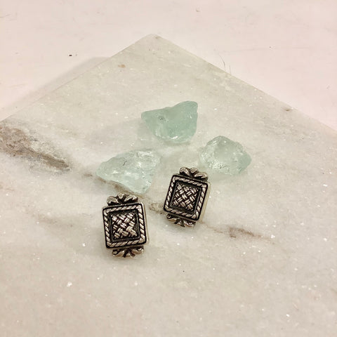 Square Basketweave Silver Earrings