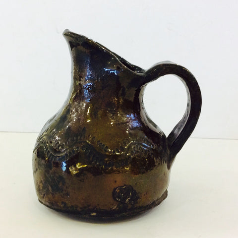 Small Glazed Guatemalan Pottery Jug with Handle and Incised Decoration