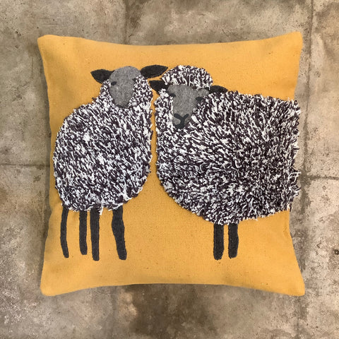 Sheep Duo Pillow - Mustard