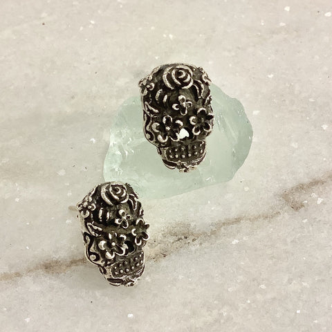 SALE - Sugar Skull Silver Earrings