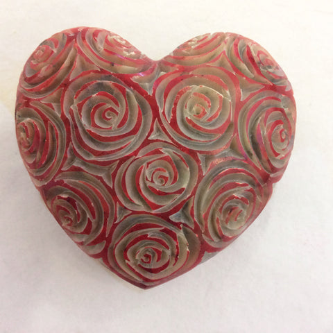 Soapstone Heart Pink Roses