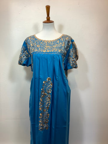 Embroidered San Antonino Dress - Gold on Turquoise - XL