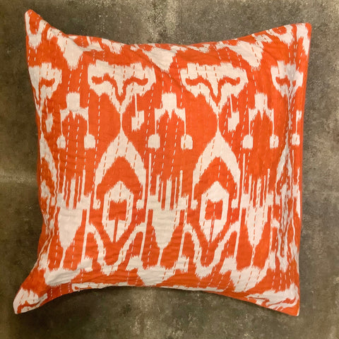 Ikat Kantha Pillow - Orange