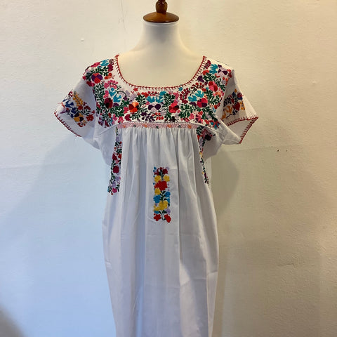 San Antonino Dress from Mexico - Multicolor/White