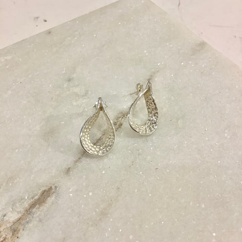 Hammered Open Teardrop Silver Earrings