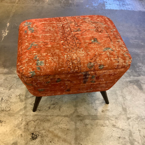 Small Rectangular Turkish Kilim Ottoman / Footstool