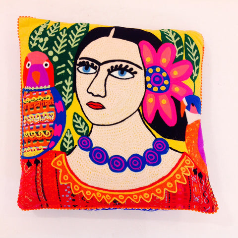 Woman with Parrots And Flower Pillow (Frida)