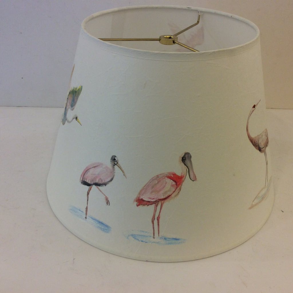 Texas Gulf Coast Cranes and Birds Painted Lampshade
