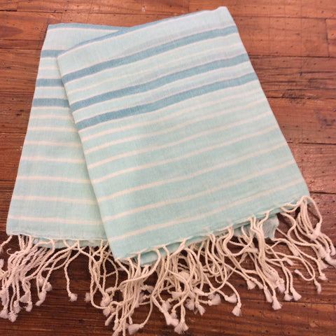 Striped Aqua Cotton Scarf