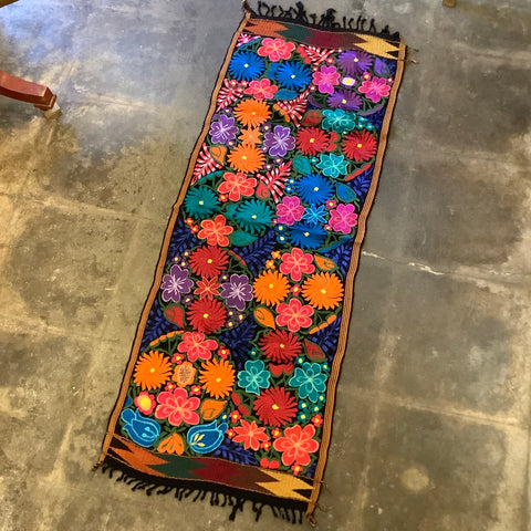 Short Embroidered Floral Runner from Guatemala - Black