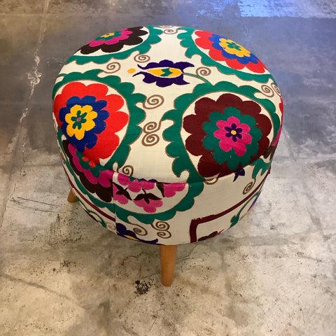 Medium Turkish Kilim Ottoman / Footstool - Suzani