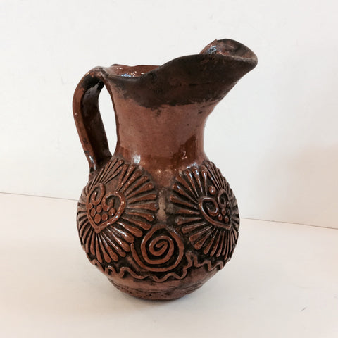 Vintage Guatemalan Pottery Jug with Handle and Applied Decorations