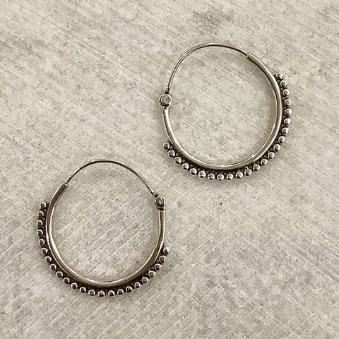 Silver Studded Hoop Earrings