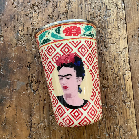 Painted Stainless Steel Tumbler with Frida Kahlo - Red and White
