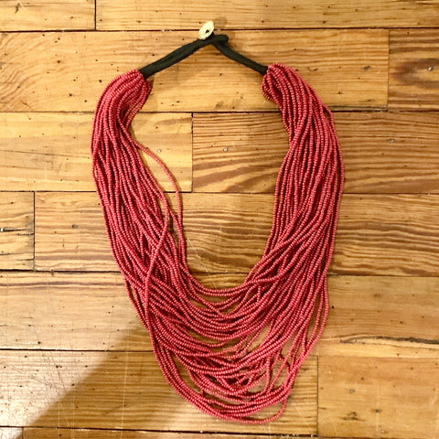 Seed Bead Necklace - Red