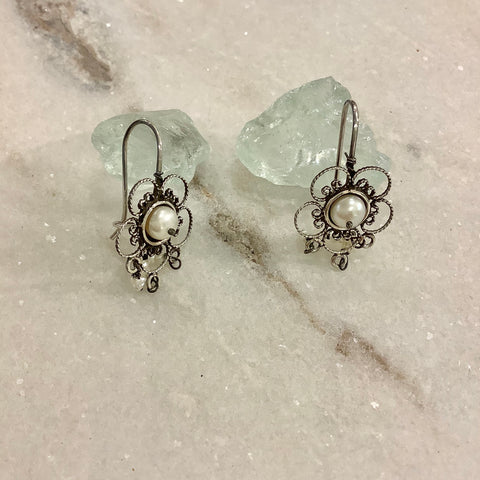 SALE - Roped Flower and Pearl Silver Earrings - Small