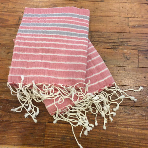 Striped Red Cotton Scarf