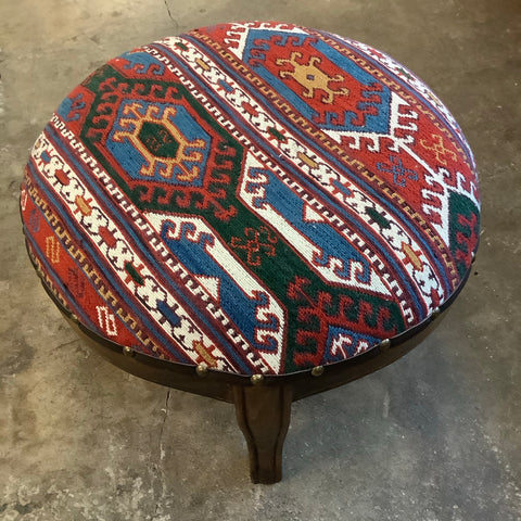 Round Kilim Footstool from Turkey