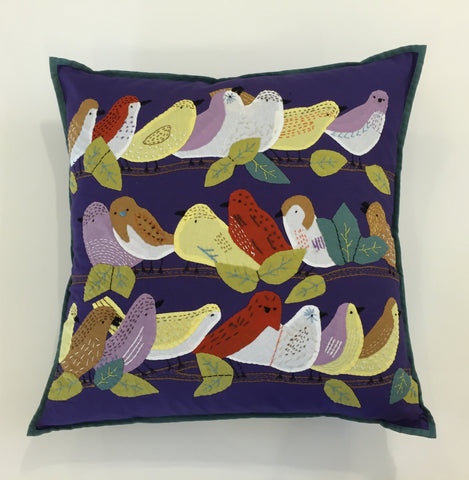 Birds on a Limb Pillow - Navy