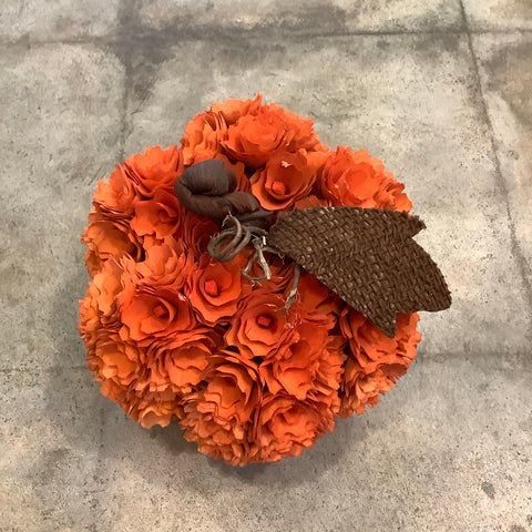 Woodchip Flowers Pumpkin 7""