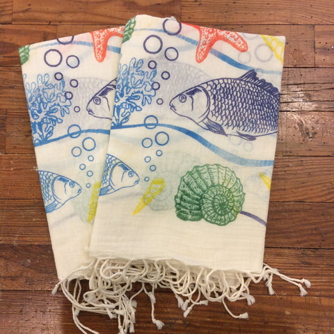 Sea Animals Cotton Scarf